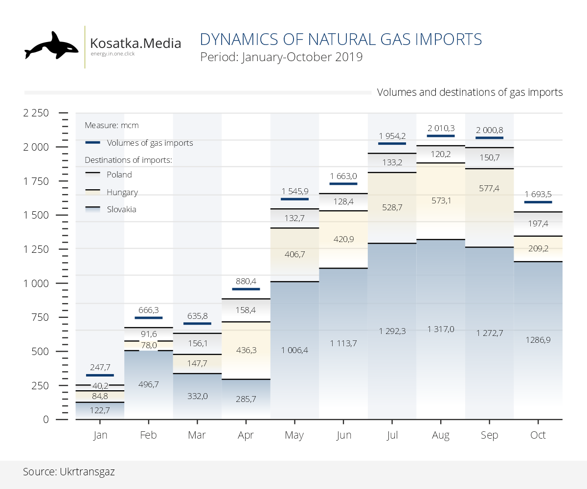 Dynamics of gas imports (January-October 2019)