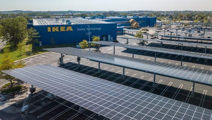 Компания DSD завершила строительство первого «солнечного» навеса для автомобилей для IKEA Балтимор