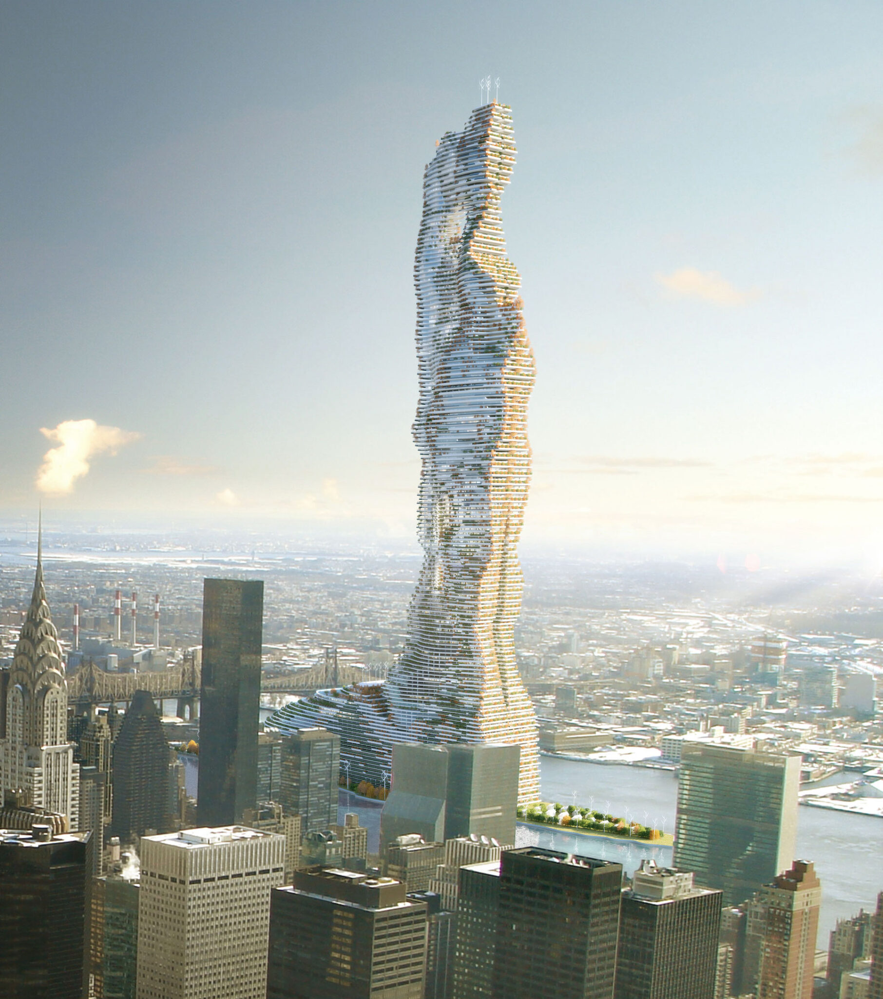 New York may build a skyscraper equipped with wind turbines and solar facades