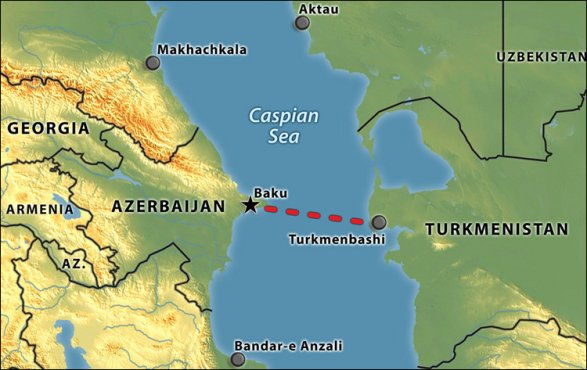 Iran and Russia are opposed to the construction of a gas pipeline from Turkmenistan through Azerbaijan